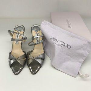JIMMY CHOO strap heels metallic crystal, size 38.5